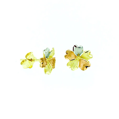 Three colour gold Flower stud earrings