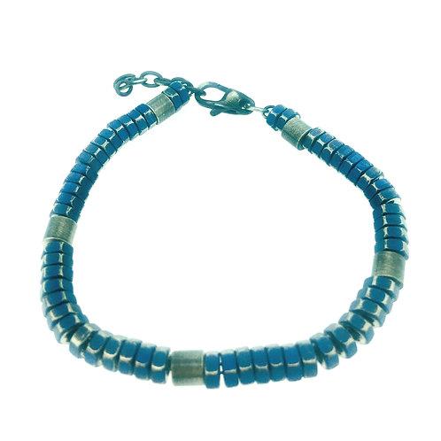 Stainless Steel blue IP plate bracelet