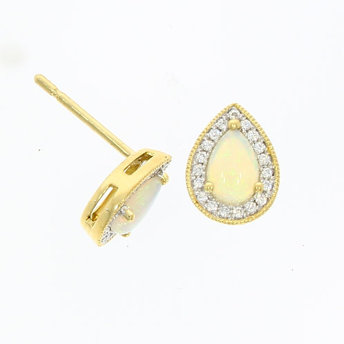 Opal and Diamond pear shaped cluster stud earrings
