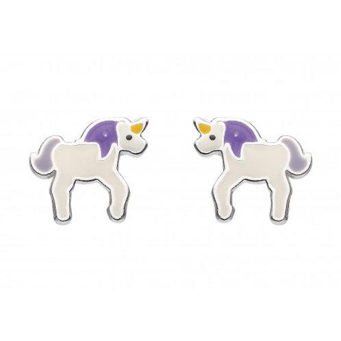 Dinky Unicorn silver enamel earrings