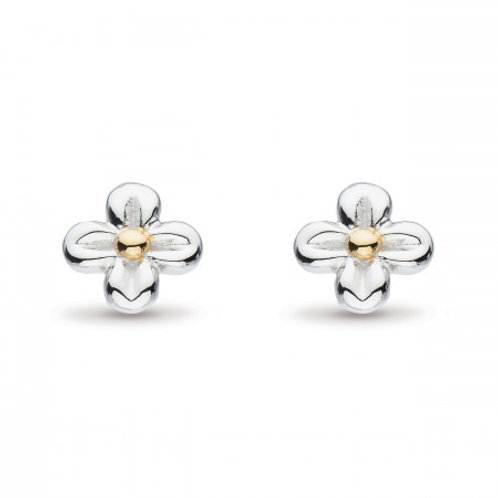Blossom Flyte Honey flower silver and gold plated stud earrings