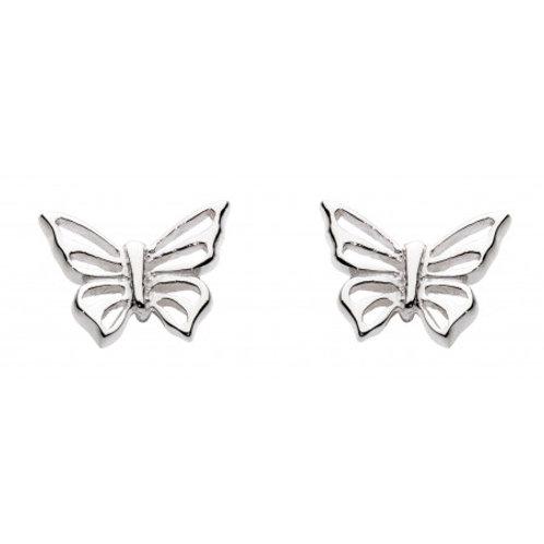 Butterfly open silver stud earrings