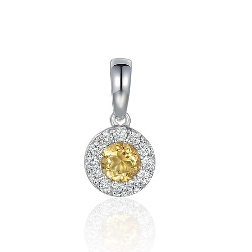 Citrine and Diamond halo white gold pendant on chain