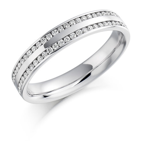 Two row Channel set Diamond 0.26ct half Eternity ring