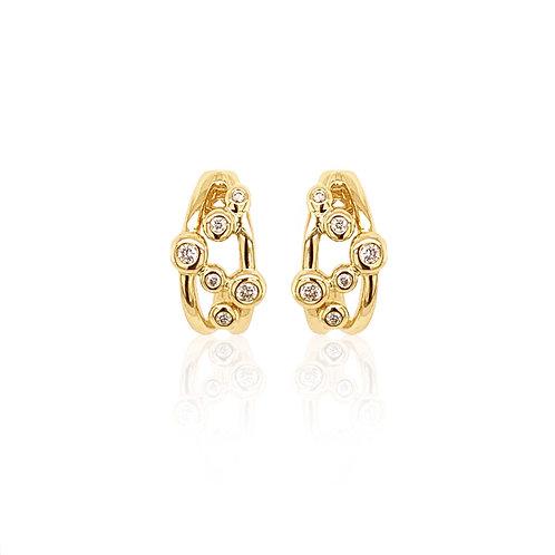 Diamond and Yellow Gold Bubble Hoop earrings