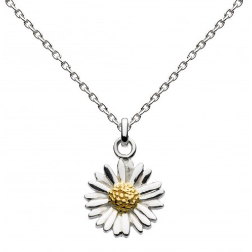 Daisy silver and gold plate pendant on chain