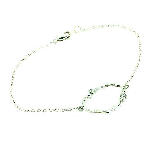 Flint silver bracelet with Diamonds