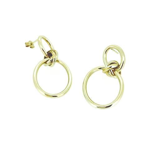 Double Circle gold link drop earrings
