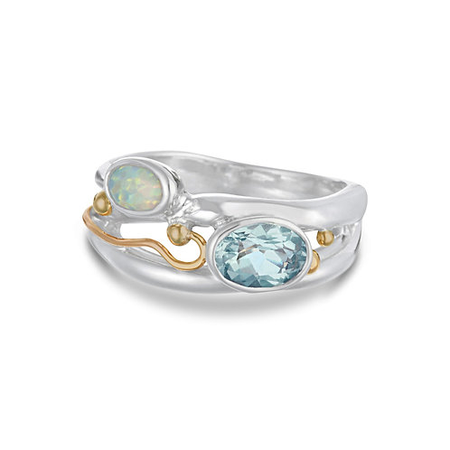 Blue Topaz and Opalite silver ring