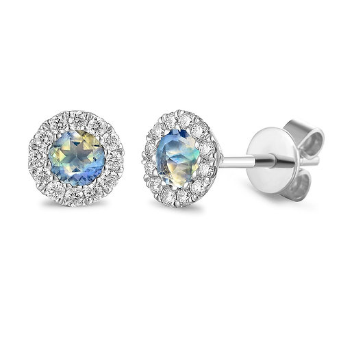 Moonstone and Diamond halo white gold earrings