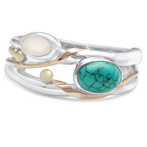 Turquoise and Pearl silver ring