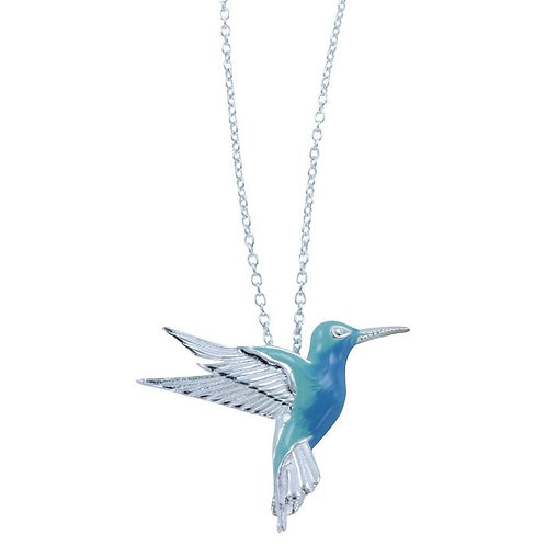 Hummingbird silver and enamel necklace