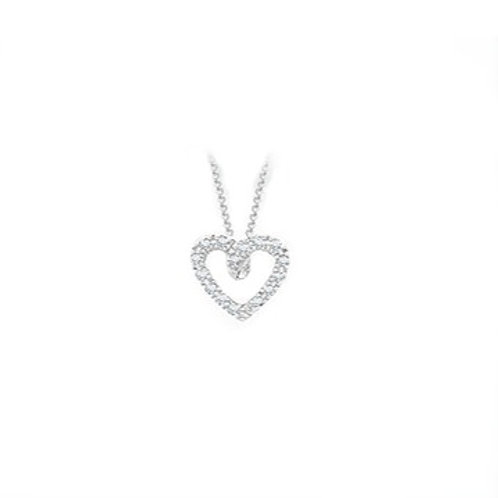 Diamond Open Heart White Gold pendant and chain