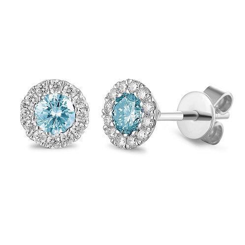 Aquamarine and Diamond halo white gold earrings