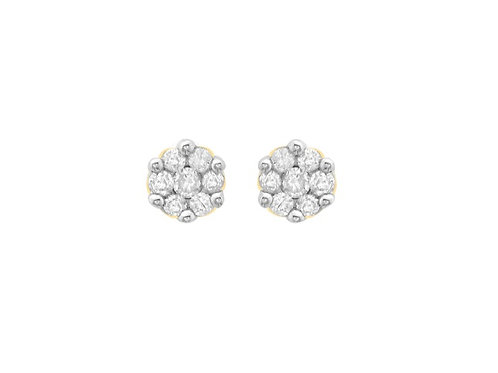 Diamond Cluster yellow gold stud earrings