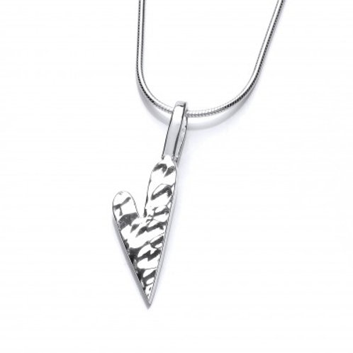 Hammered heart silver pendant