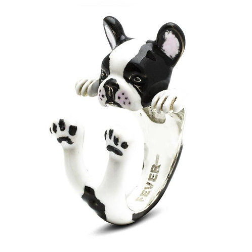 Silver enamelled French Bulldog hug ring