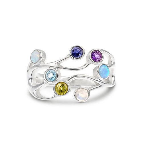 Multi Stone Wave silver ring