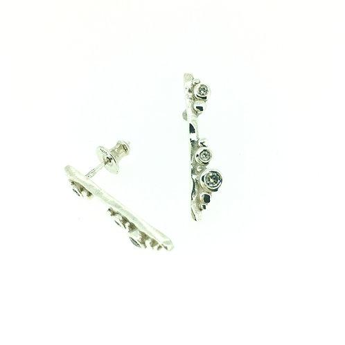 Flint Bar silver drop earrings with Diamonds