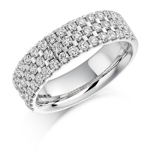 Three row Micro-claw set Diamond 1.05ct half Eternity ring
