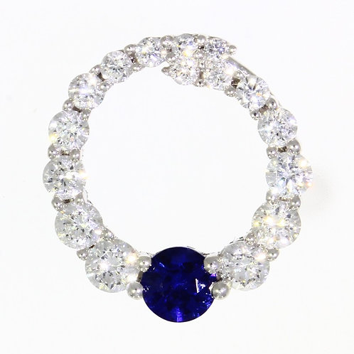 Sapphire and Diamond round circuit pendant with chain