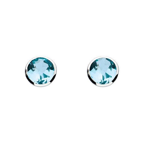 Blue Topaz round silver stud earrings