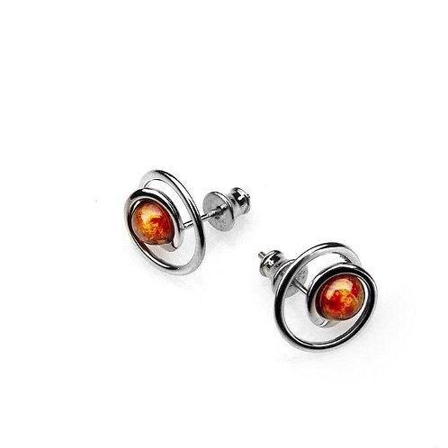 Amber swirl stud earrings