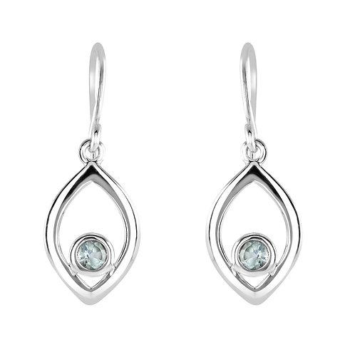 Blue Topaz Open Marquise drop earrings