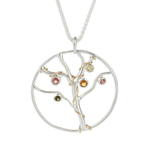 Silver jewelled Tree of Life pendant