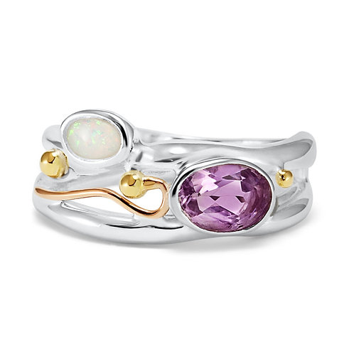 Amethyst and Opalite ring
