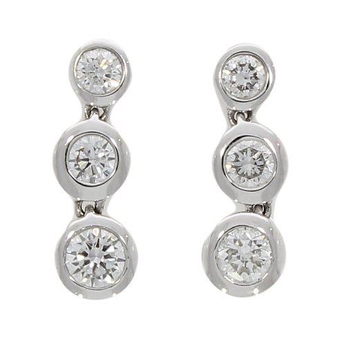 Diamond drop three stone drop earrings
