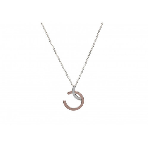 Silver and Rose Gold plated pendant with Cubic Zirconia