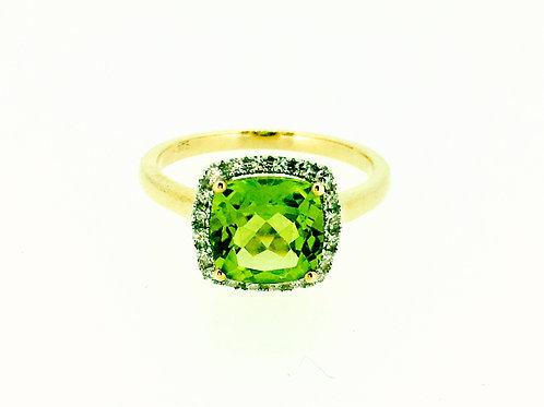 Peridot and Diamond halo gold ring