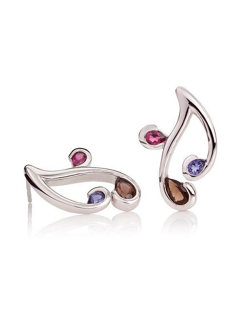 Tana smoky quartz, rhodolite and iolite stud earrings