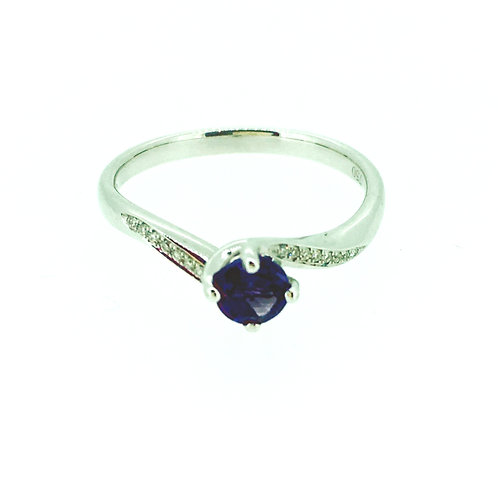 Amethyst and Diamond white gold twist ring