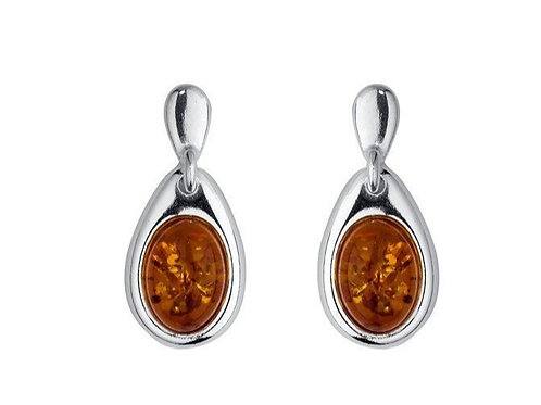 Amber pear shaped drop earrings