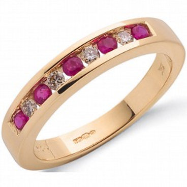 Ruby and Diamond 9ct Yellow gold ring