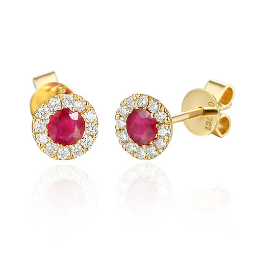 Ruby and Diamond halo 9ct Yellow gold earrings
