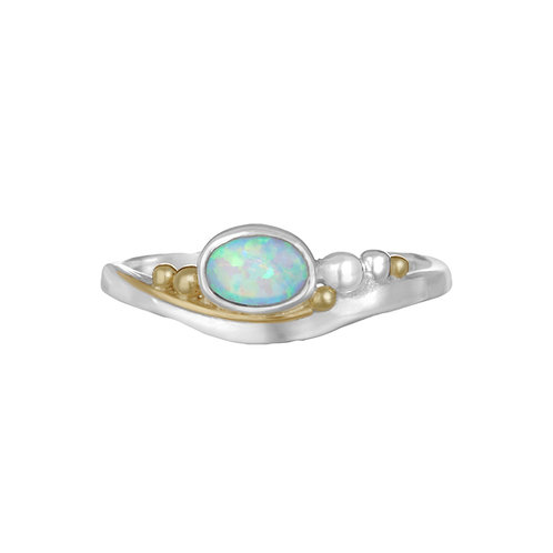 Opalite with gold detail silver ring