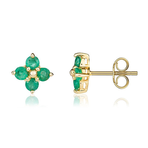 Emerald Four Stone Cluster Yellow Gold stud earrings