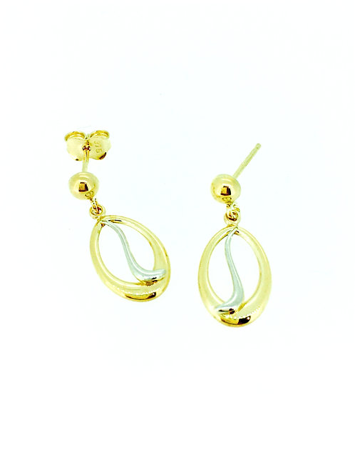 Oval Twirl yellow and white gold drop earrings