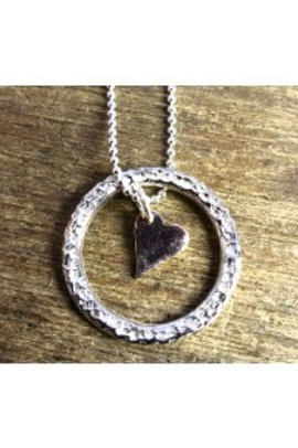Circle and rosy heart pendant