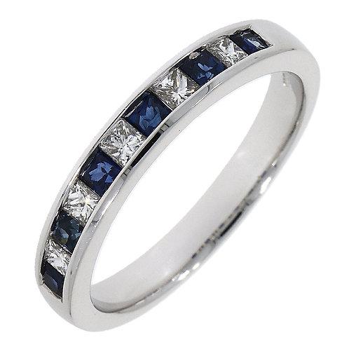 Diamond and Sapphire Princess Cut 18ct White Gold Eternity ring