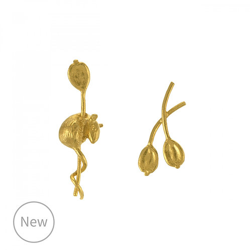 Asymmetric Harvest Mouse & Angelica Stud Earrings