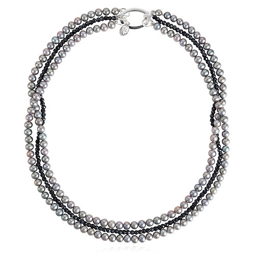 Silver pearl and black spinel necklace