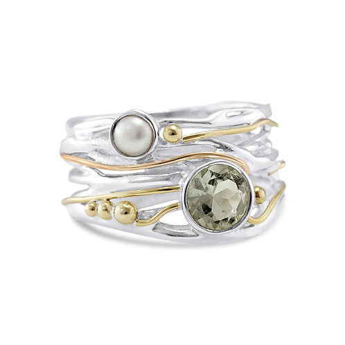 Green Amethyst and Pearl Statement silver ring