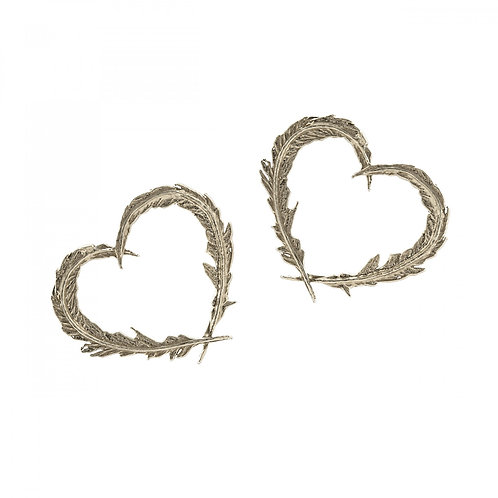 Delicate Feather Heart Earrings