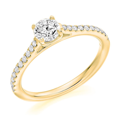 Round brilliant cut solitaire ring with diamond shoulders