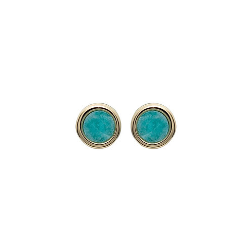 Amazonite Yellow Gold plated Silver stud earrings