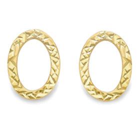 Diamond cut Oval stud earrings
